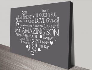 Canvas Custom Word Art in Grey for Guys