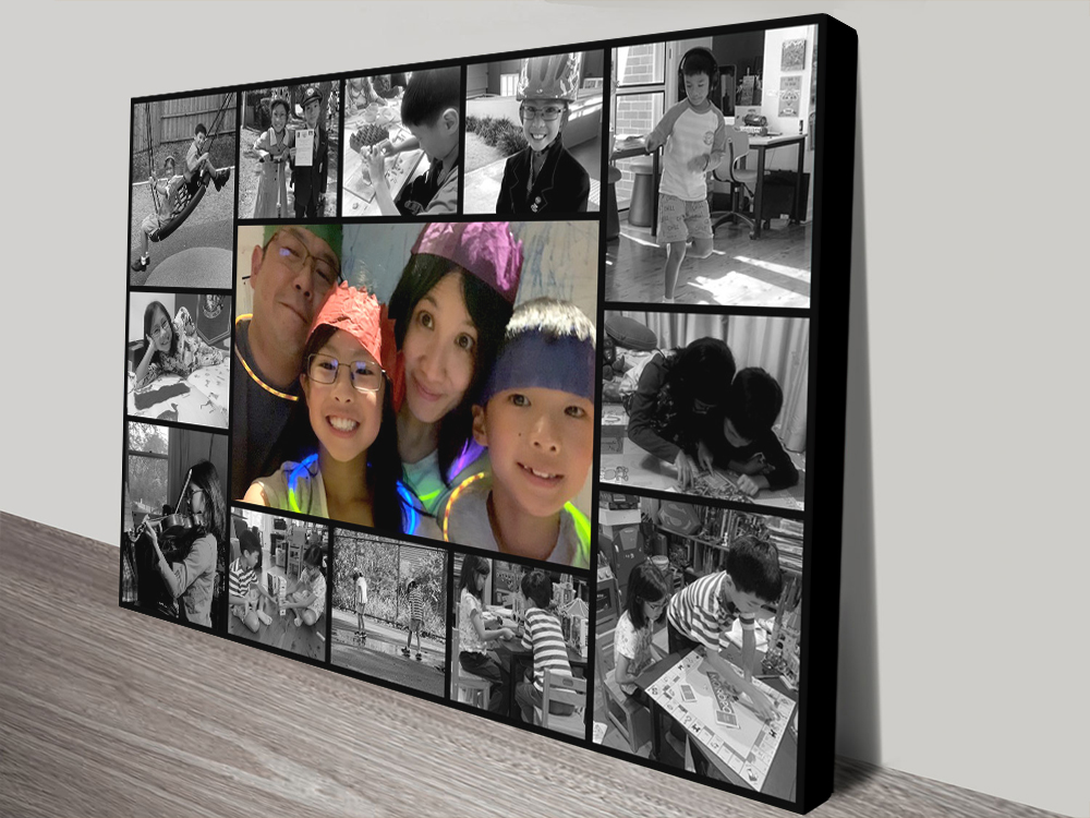 Unique Personalised Photo Collage Wall Art | Black and White Custom Collage