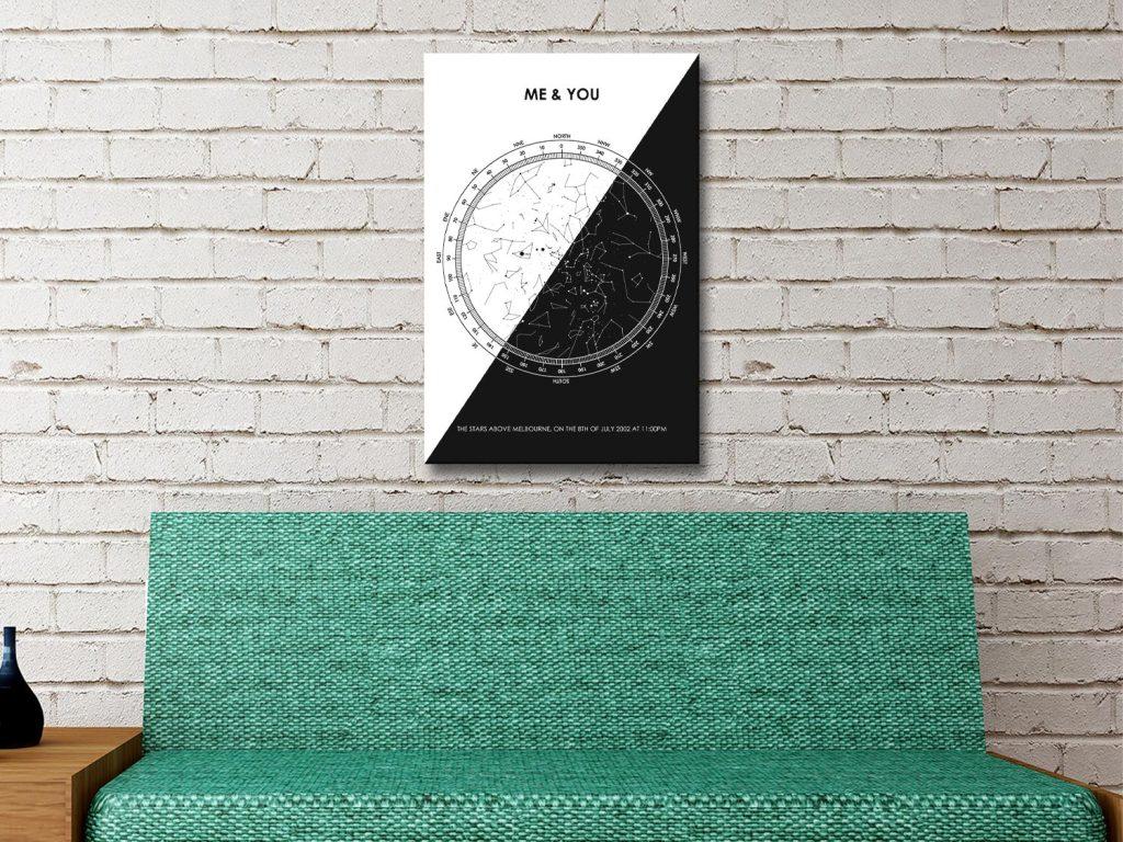 Monochrome Star Map Personalised Wall Art