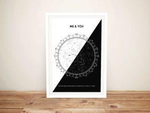 Black & White Framed Custom Star Chart Art