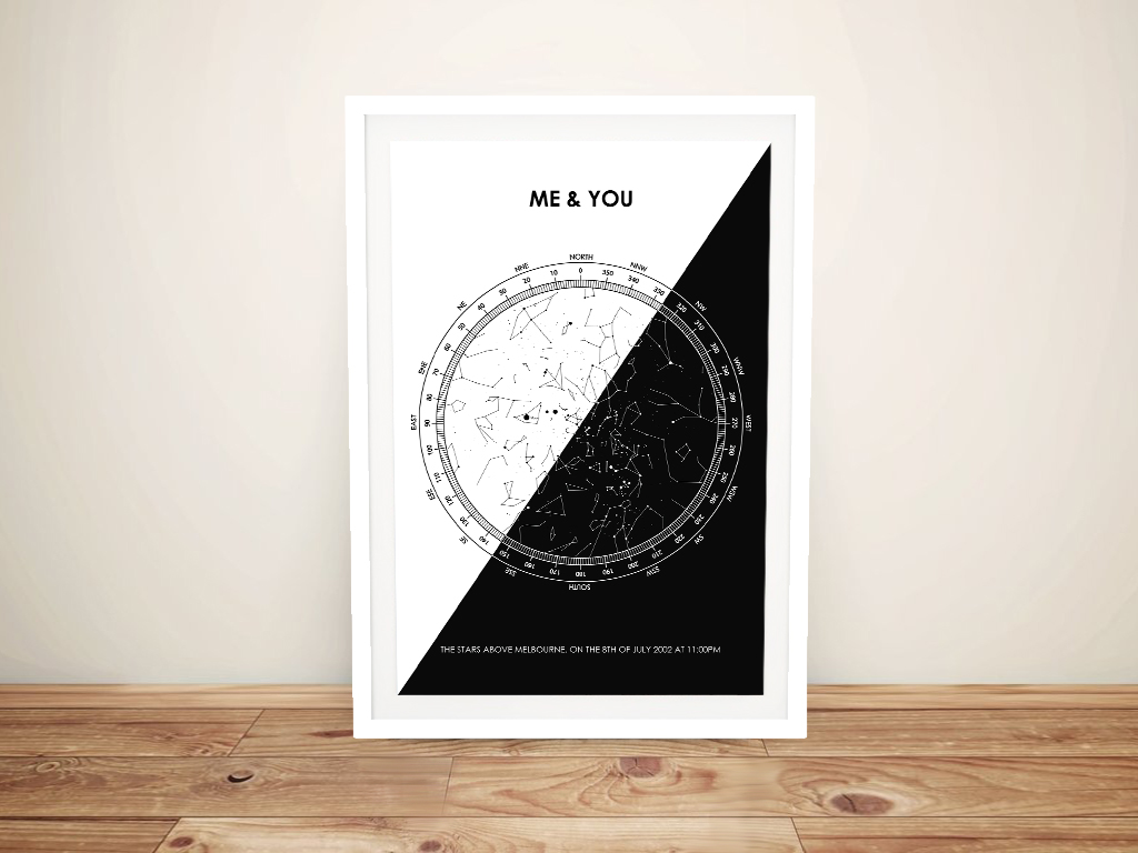 Black & White Framed Custom Star Chart Art | Black & White Star Map