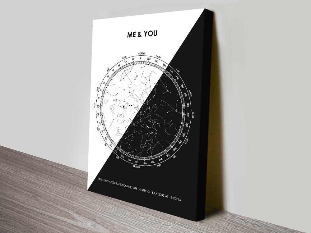 Black & White Star Map Custom Art Gifts AU