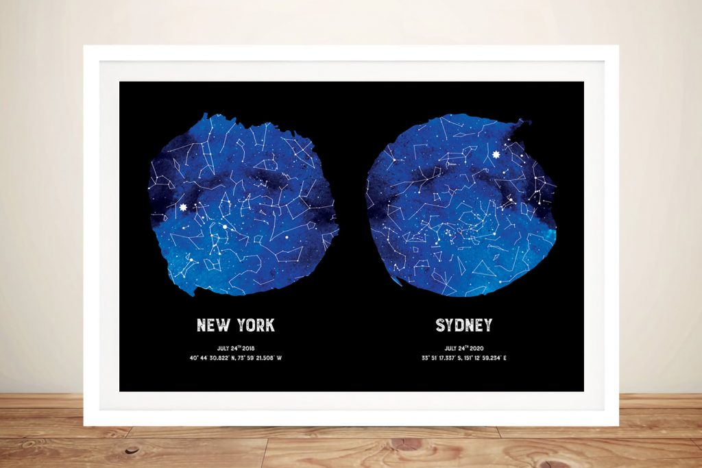 Framed Dual Blue Star Map Custom Art