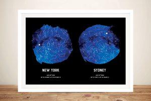 Framed Dual Blue Star Map Custom Art