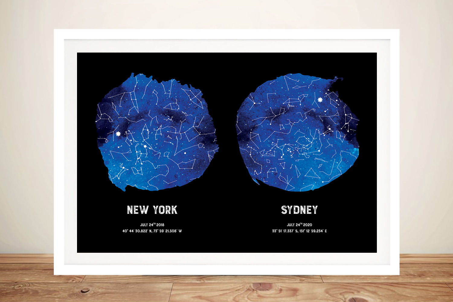 Framed Dual Blue Star Map Custom Art | Blue Dual Star Map