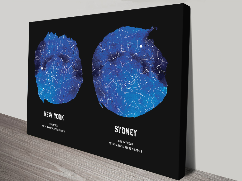 Blue Dual Star Map Great Gifts for Newly Weds