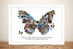 Framed Custom Butterfly Collage Print on Canvas