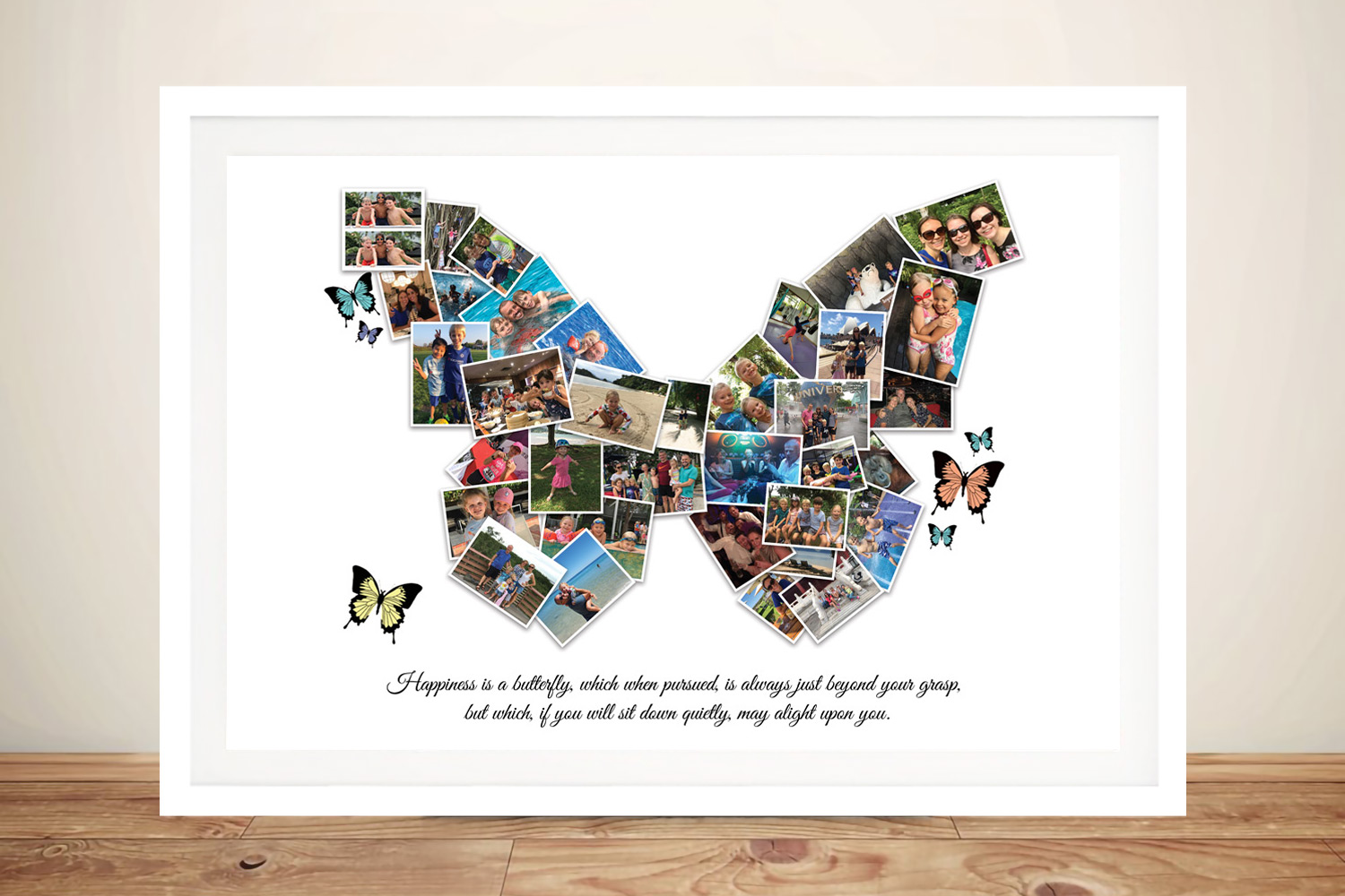 Framed Custom Butterfly Collage Print on Canvas | Butterfly Custom Photo Collage