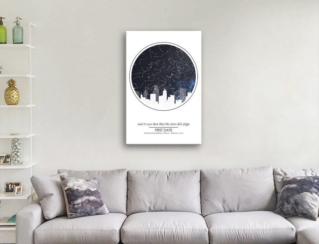 Ready to Hang City Skyline Star Map Art