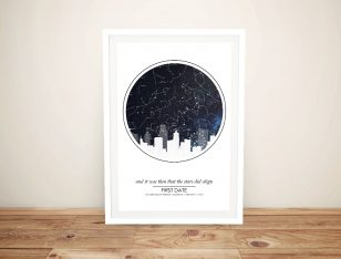 City Skyline Star Map Personalised Canvas Art