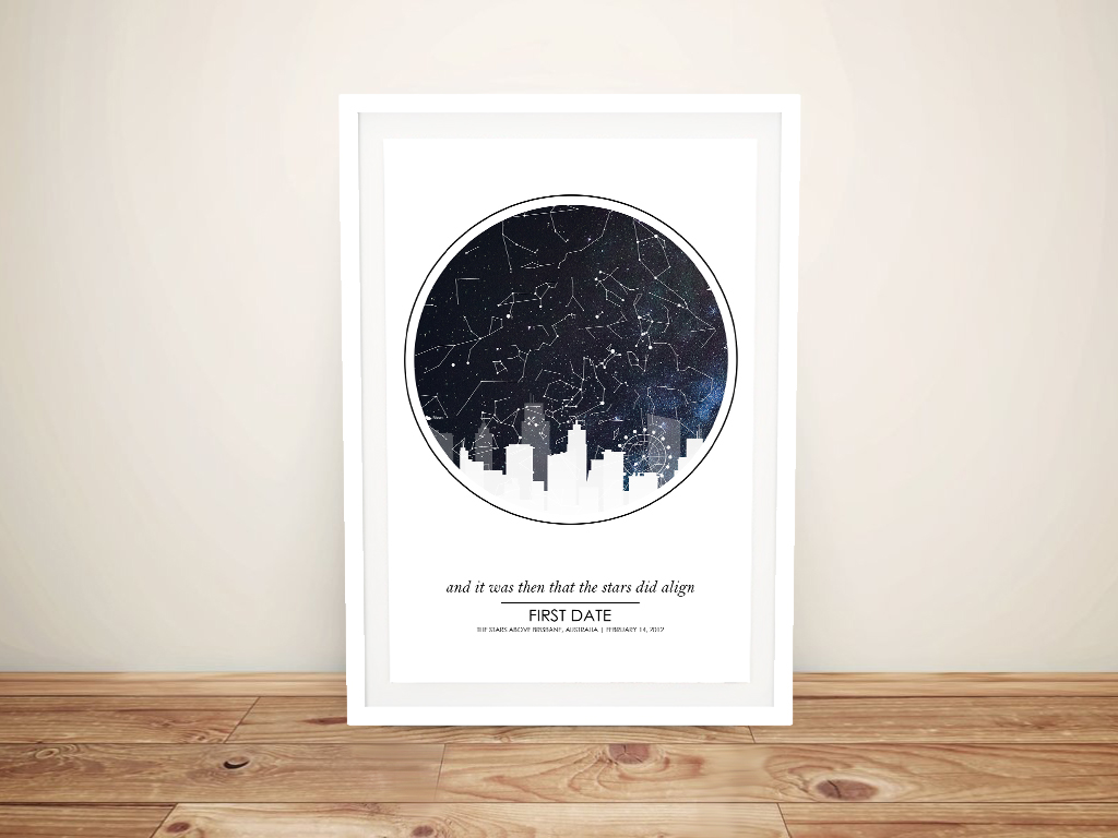 City Skyline Star Map Personalised Canvas Art | City Silhouette Star Map Design