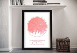 City silhouette star map coral pink Framed Art