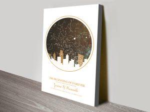 City silhouette star map Gold Framed Art