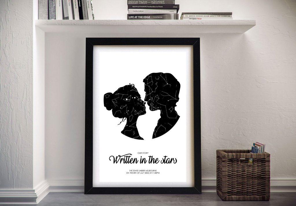 Couple Star Map Framed Custom Wall Art Online