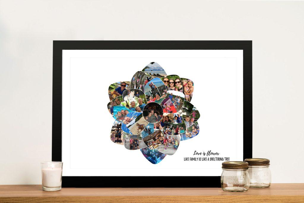 Framed Stretched Canvas Flower Collage AU