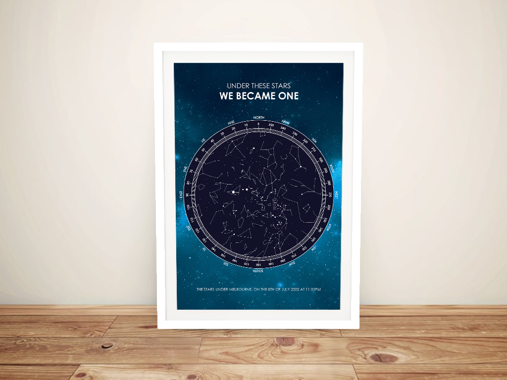 Galaxy Design Star Chart Custom Print on Canvas | Galaxy Star Map Design