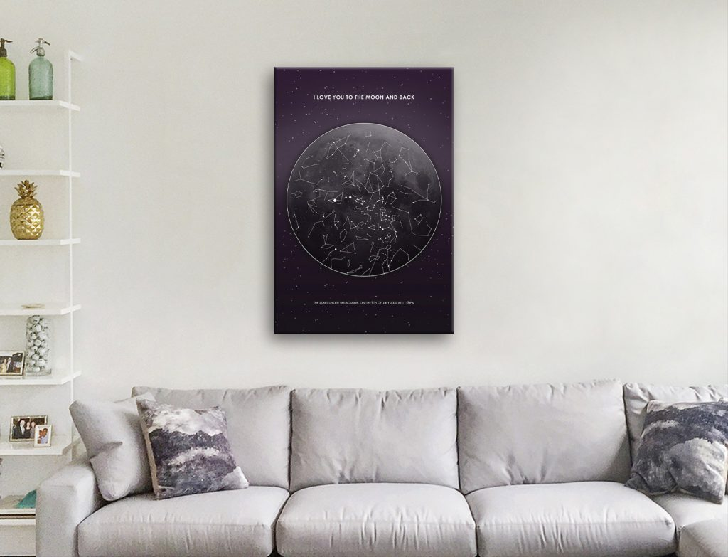 Moon Star Map Unique Personalised Artwork
