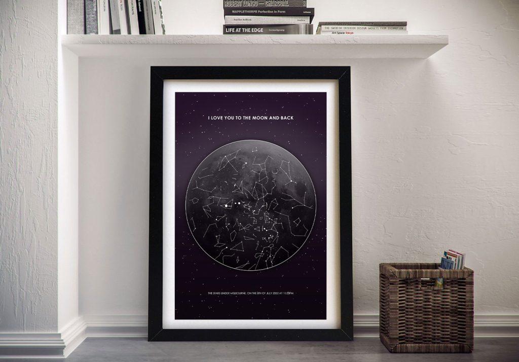 Framed Moon Star Map Print on Canvas AU