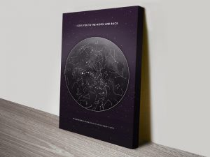 Buy a Personalised Moon Star Map Canvas Print