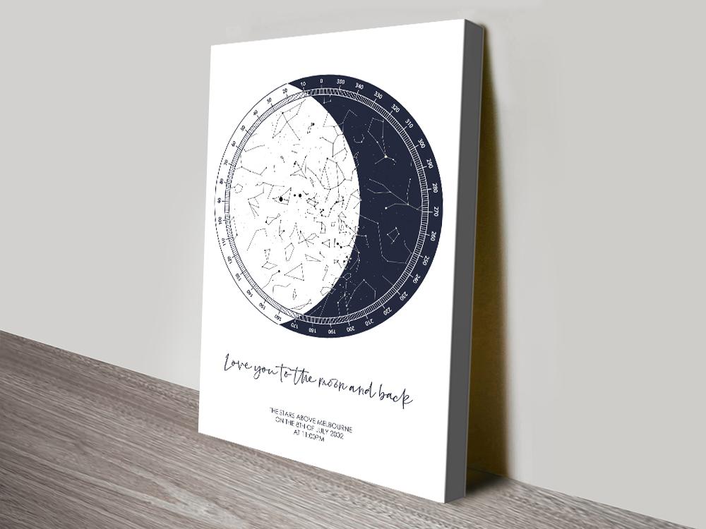 Canvas Custom Moon Star Chart Artwork