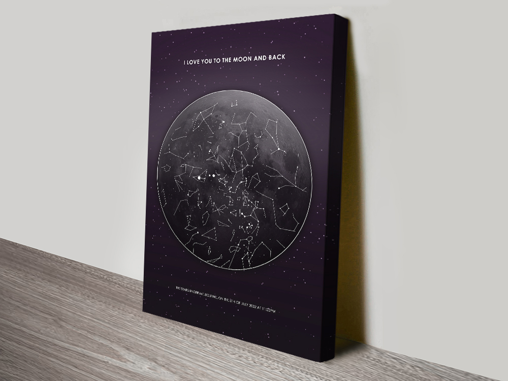 Buy a Personalised Moon Star Map Canvas Print | Moon Star Map Design 1