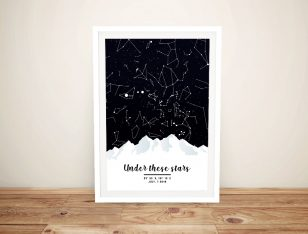 Mountains Star Chart Gift Ideas for Newly Weds