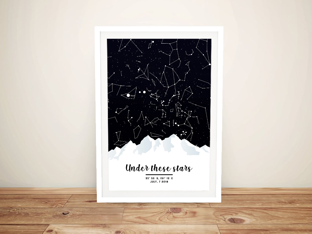 Mountains Star Chart Gift Ideas for Newly Weds | Mountains Star Map Design