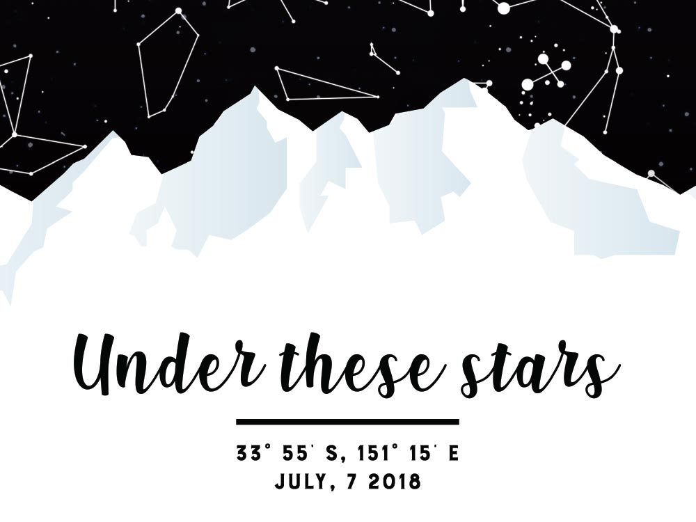 Under These Stars Personalised Star Map AU