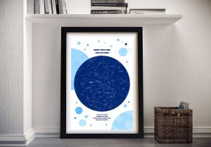 Framed Blue Star Chart Great Gifts for Babies AU