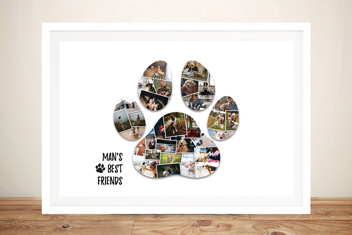 Paw Print Photo Collage Print on Canvas | Custom Paw Photo Collage