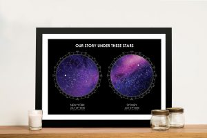 Personalised Purple Star Map Art for Sale Online