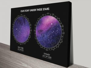Black & Purple Custom Star Chart Canvas Art