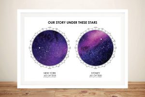 Buy a Framed Purple & White Dual Star Map