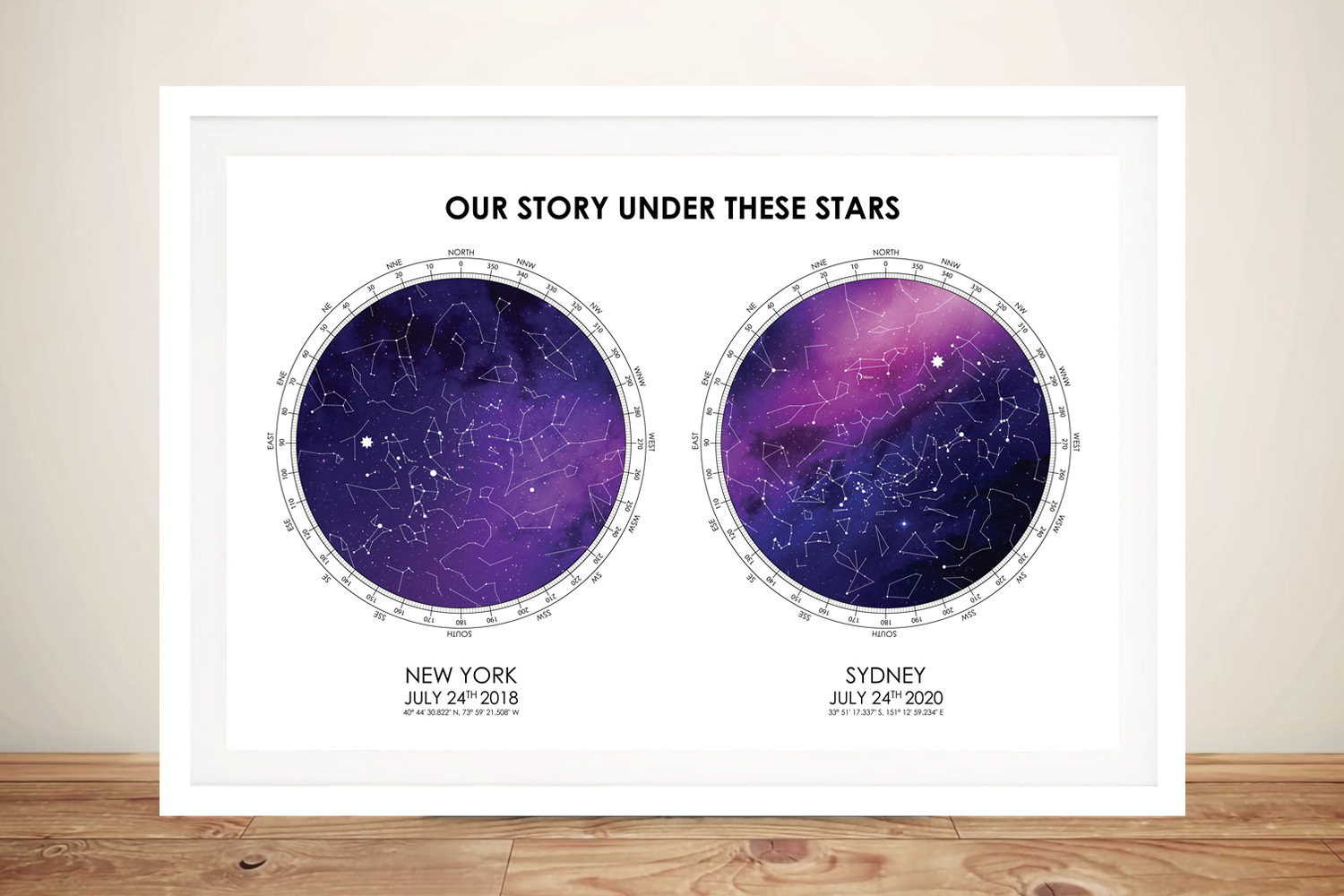 Buy a Framed Purple & White Dual Star Map | Purple & White Dual Star Map
