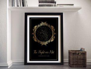 Framed Vintage Black & Gold Custom Star Chart