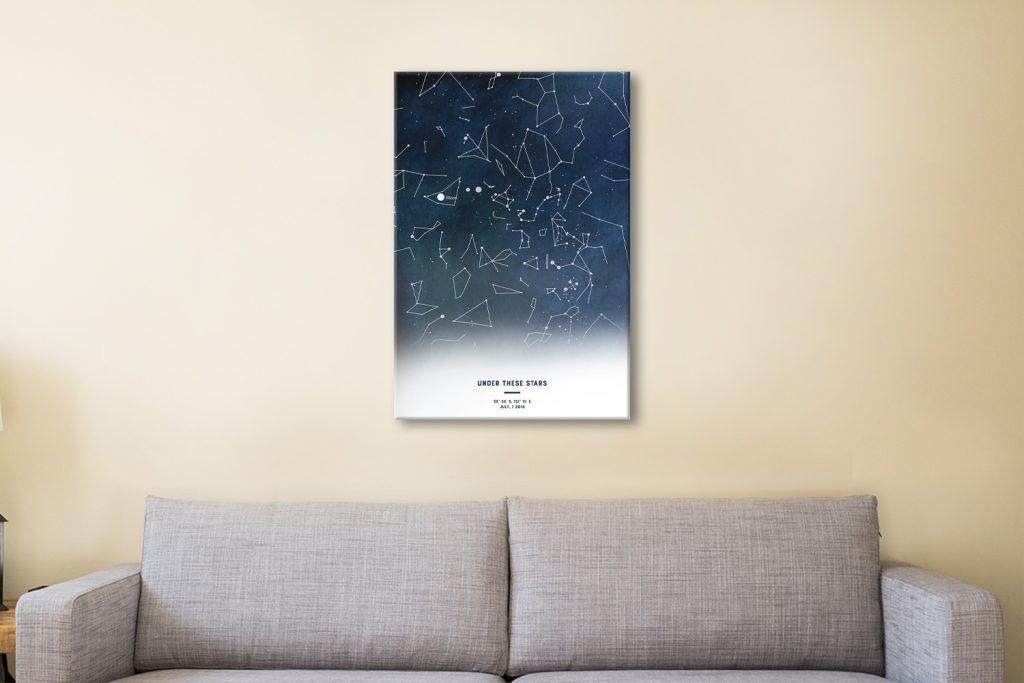 Custom Watercolour Night Sky Map Art
