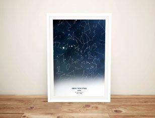 Custom Watercolour Stars Map Art