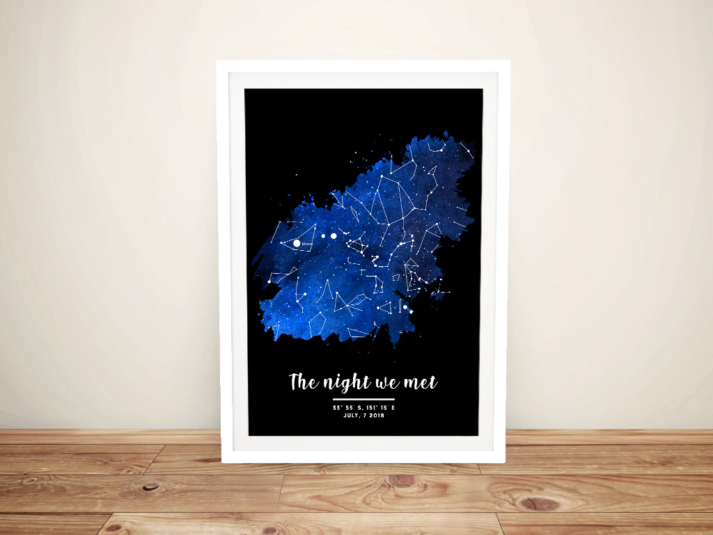 Framed Watercolour Star Map Unique Gifts AU