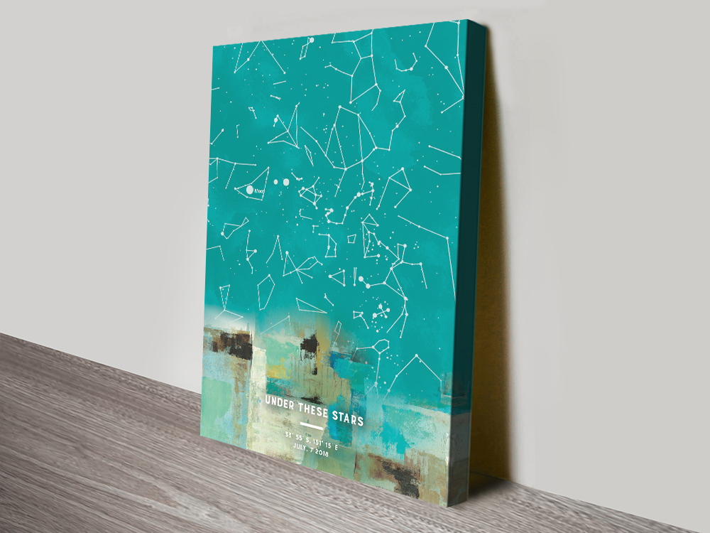 Abstract Design Custom Star Chart Wall Art | Abstract Personalised Star Map