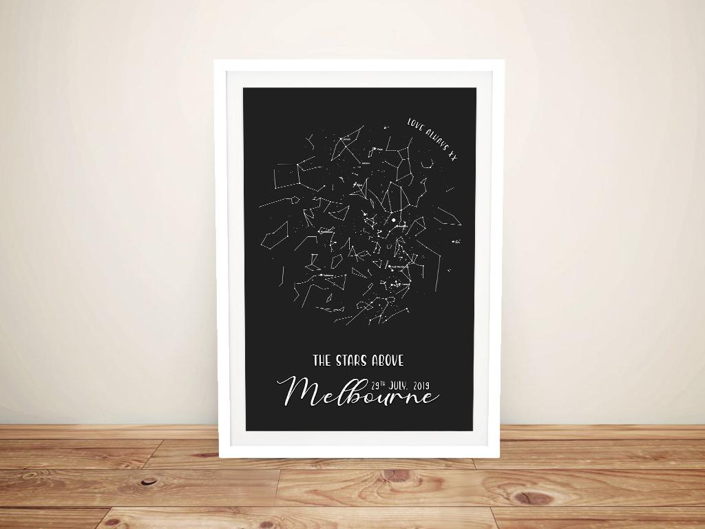 Borderless Star Map in Black Wedding Gift Ideas AU