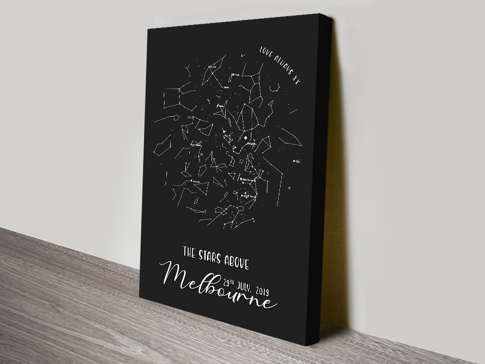 Personalised Canvas Star Map in Black | Borderless Star Map in Black