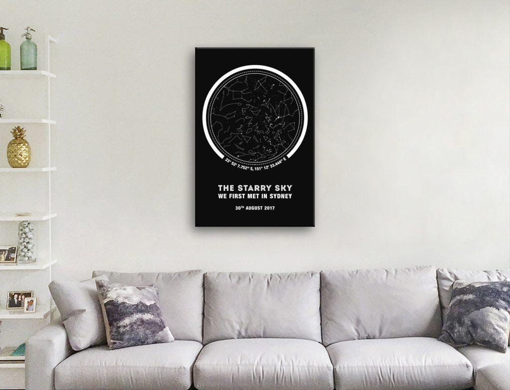 Black & White Coordinates Custom Star Map