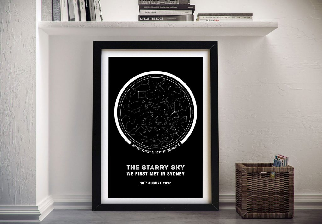 Framed Canvas Star Map Art with Coordinates