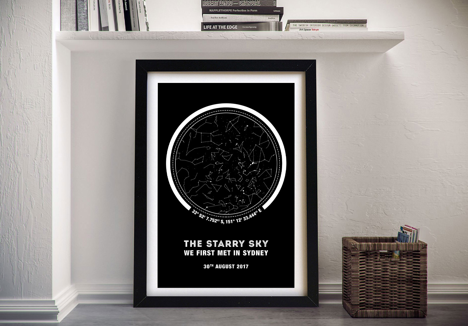 Framed Canvas Star Map Art with Coordinates | Coordinates Personalised Star Map