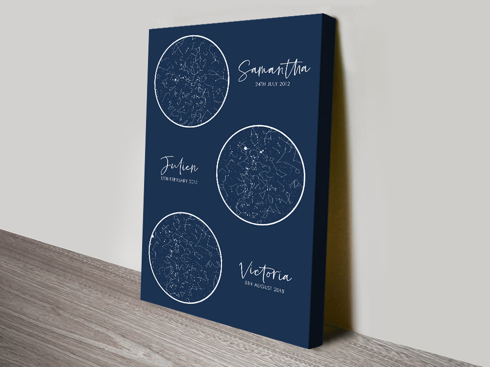 Multiple Star Chart Personalised Wall Art