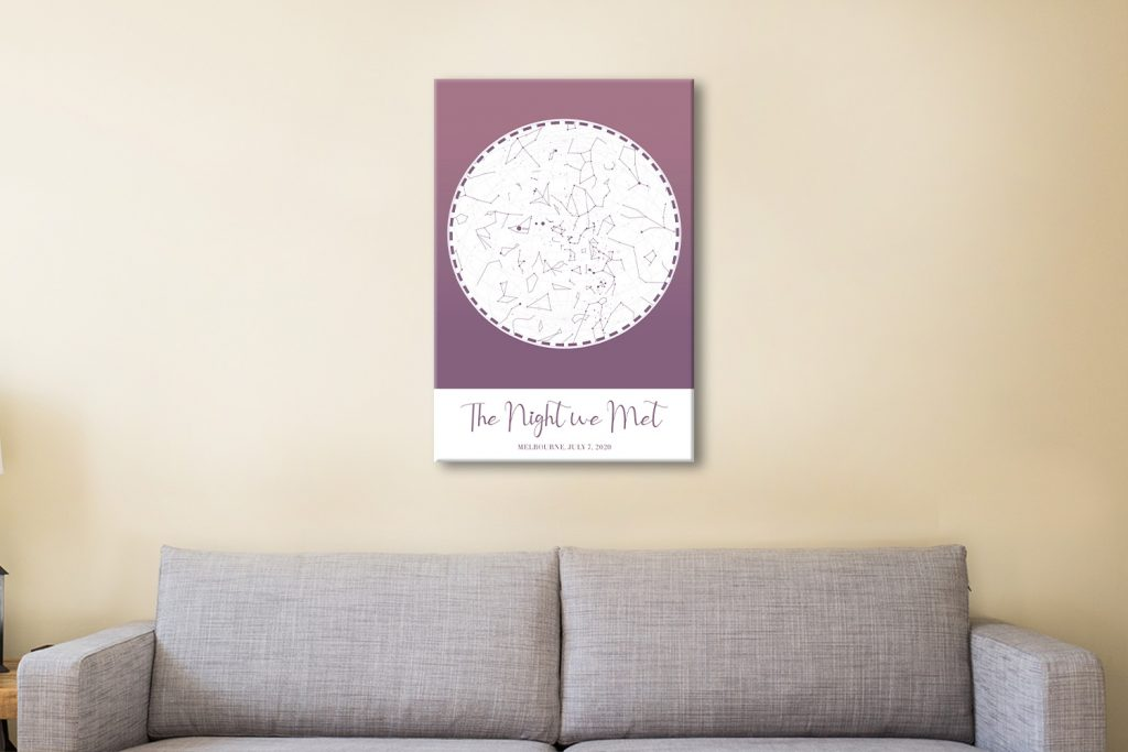 Personalised Star Map Art in Purple