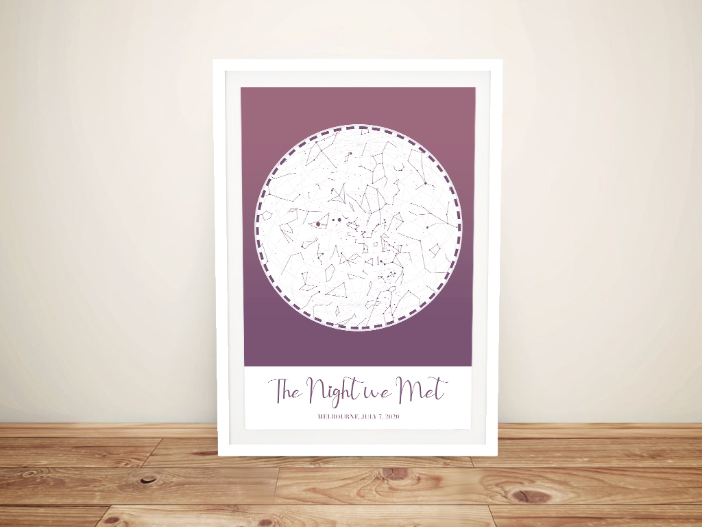 Buy a Framed Purple Custom Star Map | Purple Custom Star Map