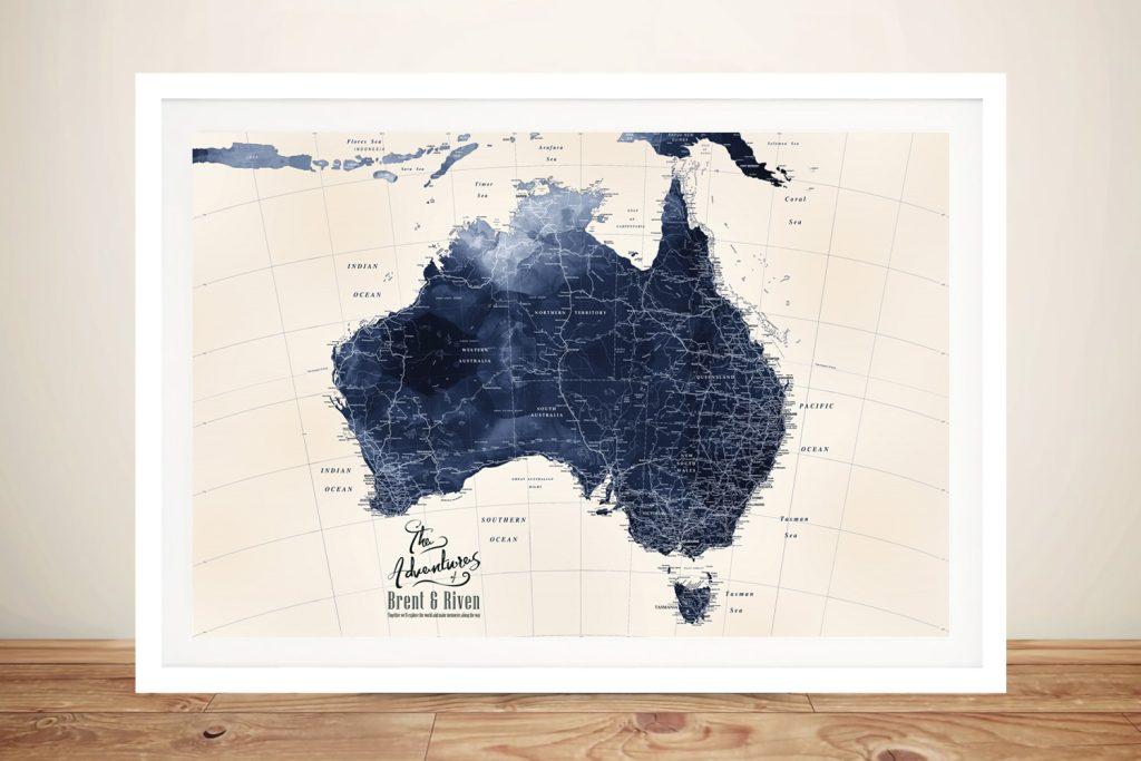 Framed Blue Map of Australia Home Decor AU