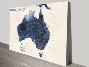 Australia Detailed Map Art in Blue Tones