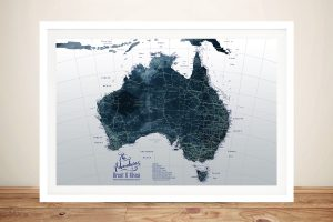 Framed Detailed Map of Australia in Dark Tones